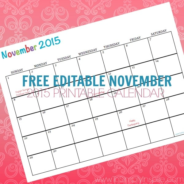 free printable calendar november 2015