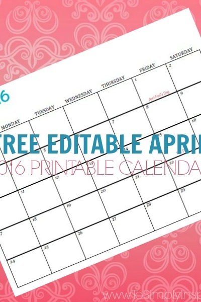 Free Printable Calendar April 2016
