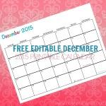 Free Printable Calendar December 2015