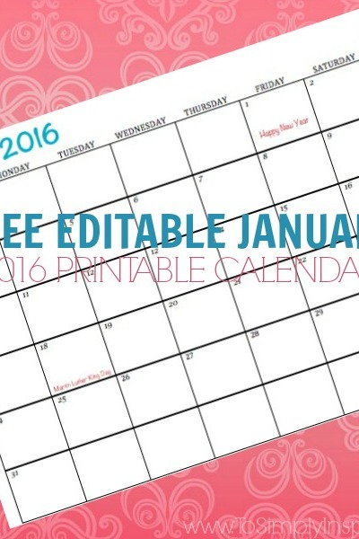 Free Printable Calendar January 2016