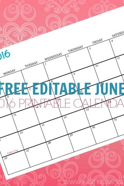 Free Printable Calendar June 2016