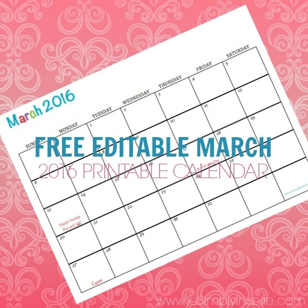 Free Printable Calendar March 2016 Perfect for meal planning, exercise schedules, cleaning schedules and more!