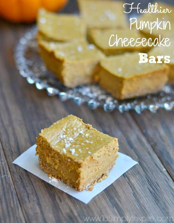 Healthier Pumpkin Cheesecake Bars are oh so creamy and delicious. Made with a few healthy swaps, they are perfect for any occasion.