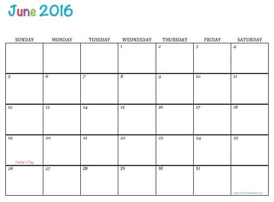 Calendar June 2016 Printable : Free printable calendars