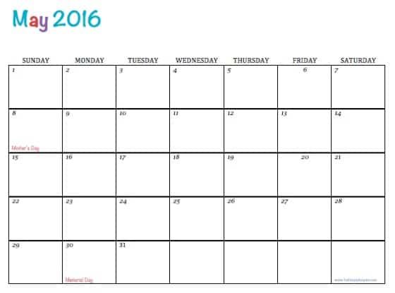 Free Printable Calendar May 2016