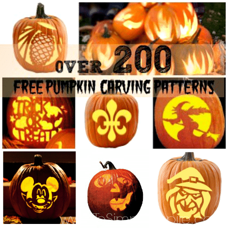 a collage of free printable pumpkin carving patterns