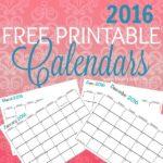 Free Printable 2016 Calenders