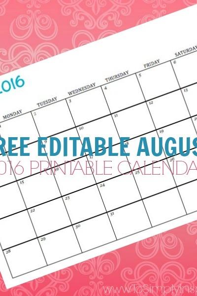 Free Printable Calendar August 2016