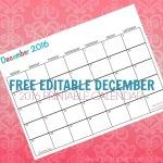 Free Printable Calendar December 2016
