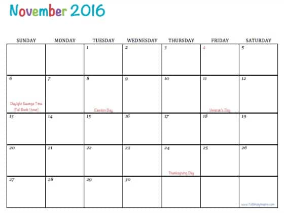 November Calendar 2016 Printable : Free printable calendars
