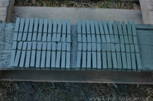 clothes pins painted green