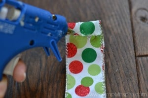 a polka dot piece of ribbon with red and green dots