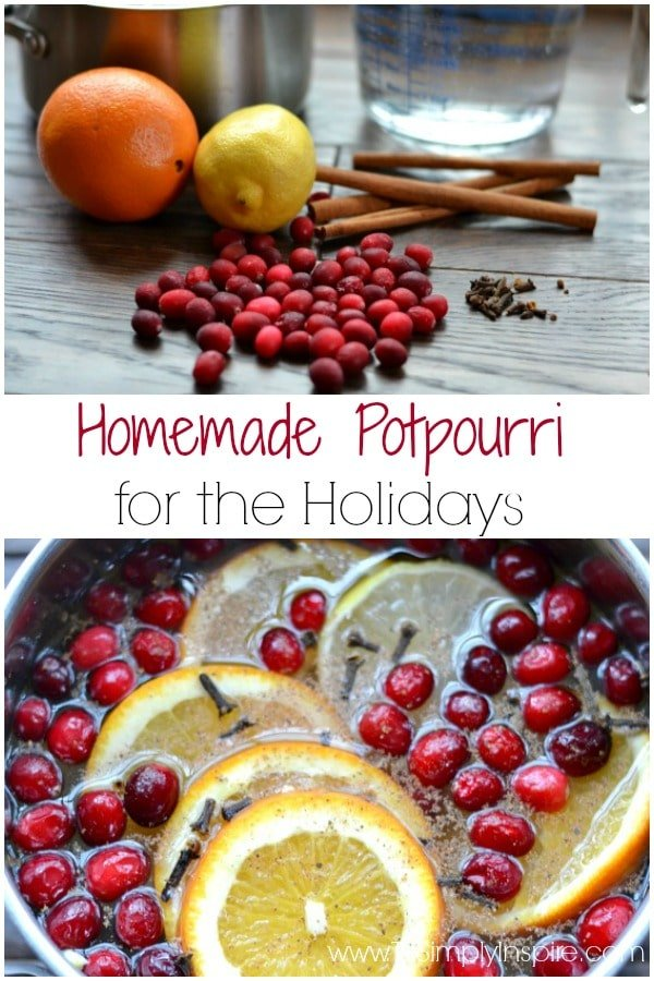 This homemade potpourri for the holidays is full of favorite scents of the season.  Simply simmering cloves, cinnamon and citrus fruits on low will fill your home with comfort.