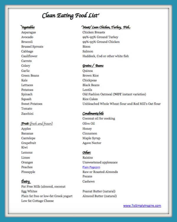 is key to eating clean and healthy. Print this Clean Eating Food List ...