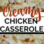 chicken casserole recipe with text overlay