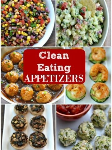Collage of six clean eating appetizer ideas