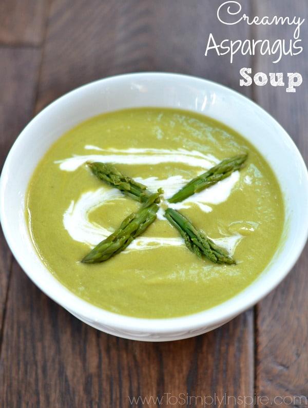 A bowl of creamy asparagus soup