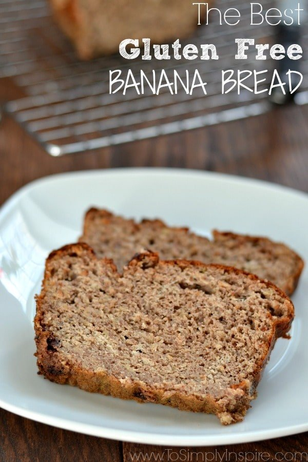 Gluten Free Banana Bread slices on a white plate.