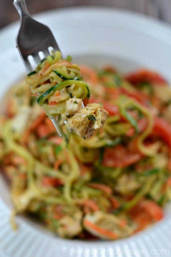 This Thai Chicken Zucchini Noodles with Spicy Peanut Sauce recipe is the ultimate healthy meal packed with unbelievable restaurant quality flavors. Made with simple ingredients, you can have it ready to serve in less than 20 minutes.