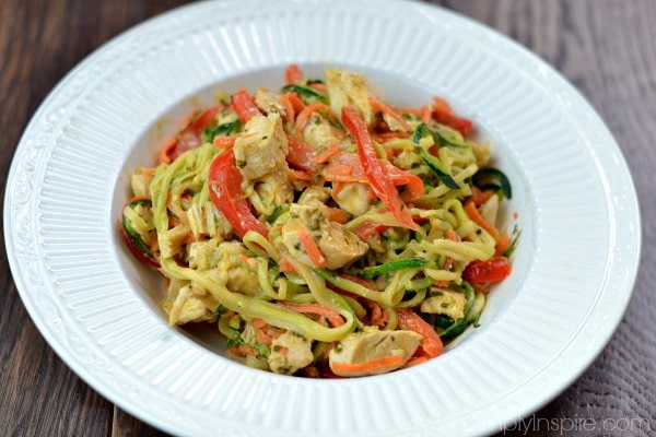 This Thai Chicken Zucchini Noodles with Spicy Peanut Sauce recipe is ...