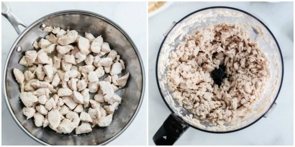 diced chicken in a silver pan and shredded chicken in a food processor