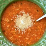 bowl of chicken tomato soup