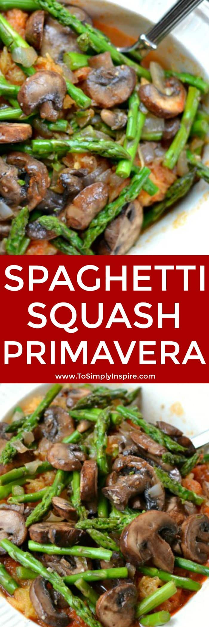 This Spaghetti Squash Primavera is loaded with your favorite fresh vegetables and marinara sauce combined for a delectable low carb version of a favorite Italian meal. Easy, cheap and quick to make.