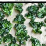 baked kale chips with text overlay