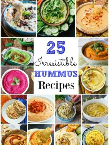 Many different types of hummus in bowls
