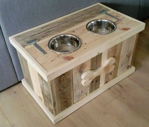 Pallet Dog Bowl Stand with Storage