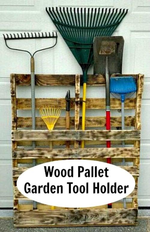 Wood Pallet Garden Tool Holder