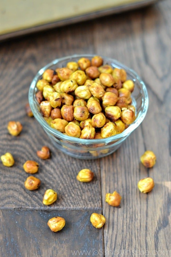 a glass bowl with honey mustard chickpeas