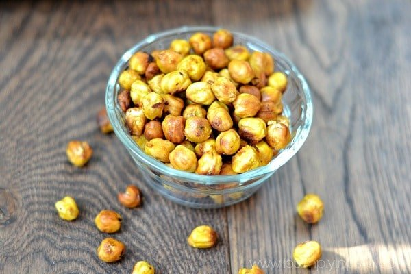 Honey Mustard Roasted Chickpeas recipe in a glass bowl
