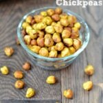 a glass bowl with honey mustard chickpeas with text overlay