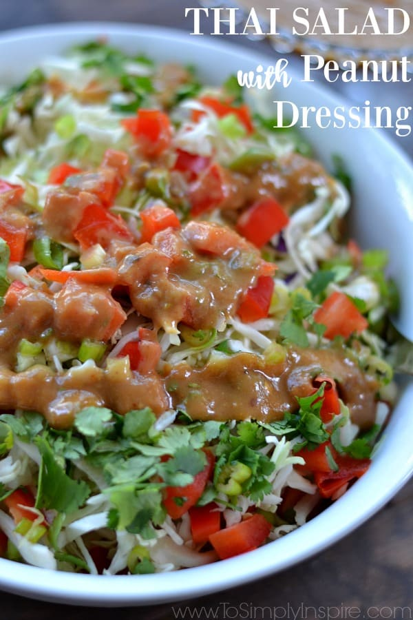 This Thai Salad with Peanut Dressing, inspired by a California Pizza Kitchen favorite, is loaded with freshness. The mouthwatering, creamy dressing is what puts it over the top delicious.