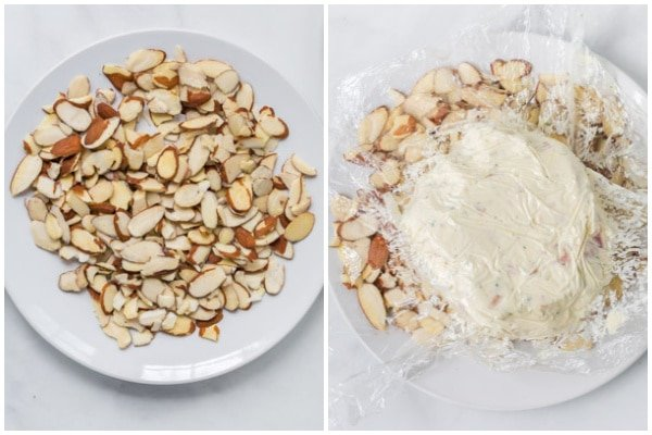 cheese ball being coated with almond slices