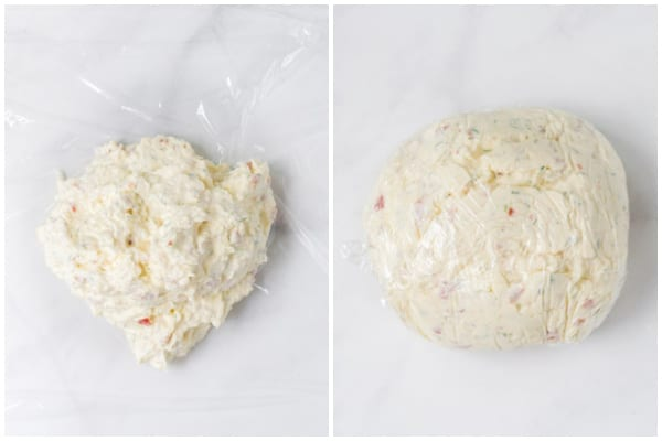 cheese ball on and wrappped in plastic wrap