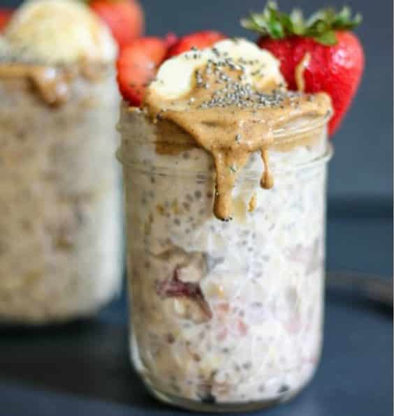 Almond Butter, Strawberry & Banana Overnight Oats with Chia
