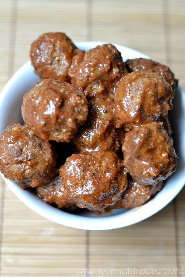 Grape Jelly and Ketchup Meatballs in a white bowl