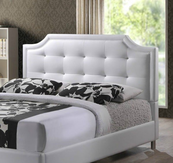 Baxton Studio Carlotta Modern Bed with Upholstered Faux Leather Headboard