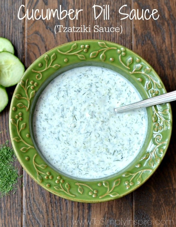 Cucumber Dill Sauce in a green bowl