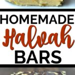Three halvah bars stack on white parchment paper