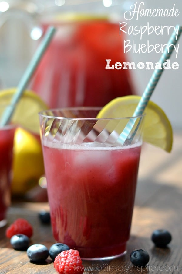 There is nothing more refreshing than Homemade Raspberry Blueberry Lemonade on a hot day! Try this simple recipe for your next get together or BBQ too.
