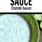 cucumber dill sauce recipe in a green bowl