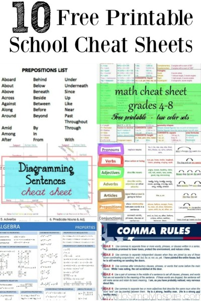 Free Printable School Cheat Sheets