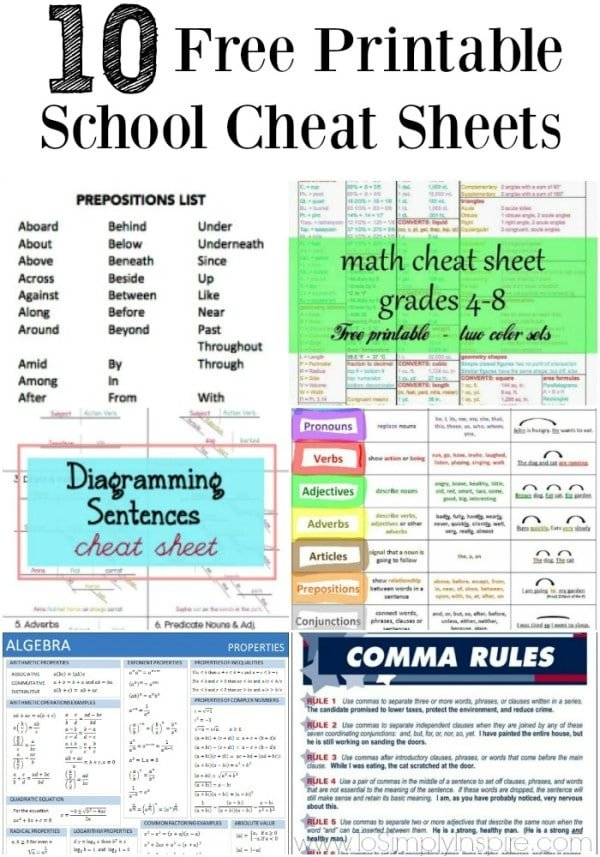 10 Free Printable School Cheat Sheets - To Simply Inspire