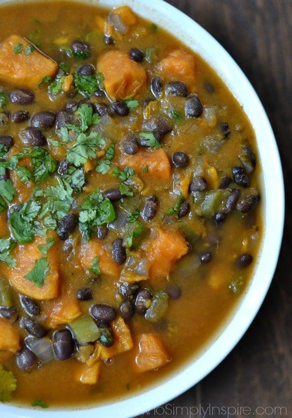 A bowl of sweet potato and black bean soup