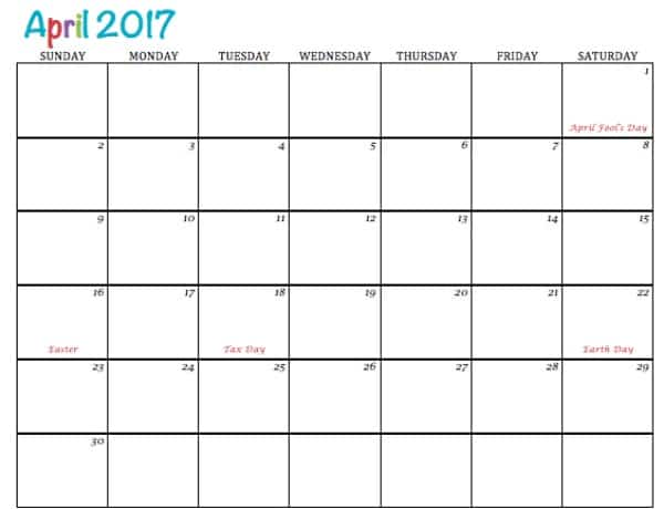 Free Printable Calendar April 2017 - To Simply Inspire