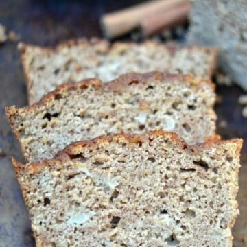 A close up of a slices of applesauce bread