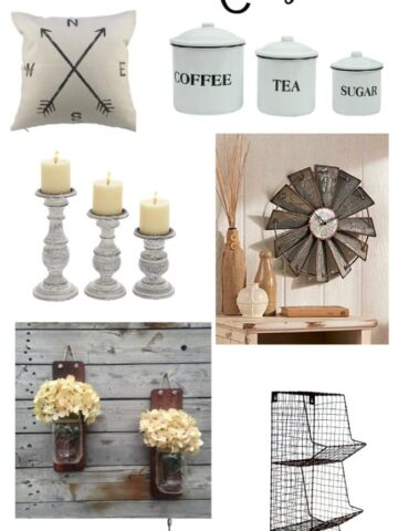 several pieces of farmhouse decor - candlesticks, canisters, pillow, cream hydrangea flowers